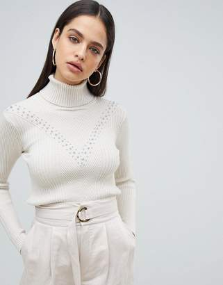 Fashion Union High Neck Sweater In Textured Knit