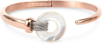 Charriol Mother-of-Pearl Two-Tone Bangle Bracelet in PVD Stainless Steel and Rose Gold-Tone