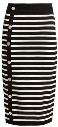 Altuzarra Enya Striped Ribbed Knit Midi Skirt - Womens - Black White