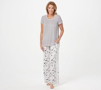 Cuddl Duds Cool & Airy Jersey Color- Block Print Pajama Set