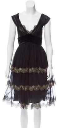 Alberta Ferretti Mesh Paneled Dress w/ Tags