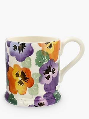 Emma Bridgewater Purple Pansy Half Pint Mug, White/Multi, 284ml