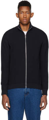 Paul Smith Navy Knit Zip-Up Sweater