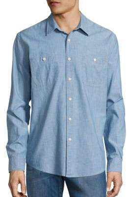 Dockers Premium Edition Slim-Fit Chambray Cotton Casual Button-Down Shirt