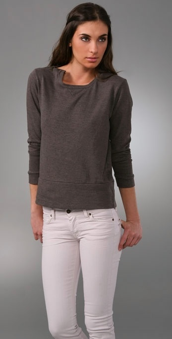 Monrow Crew Sweatshirt with Zipper Detail
