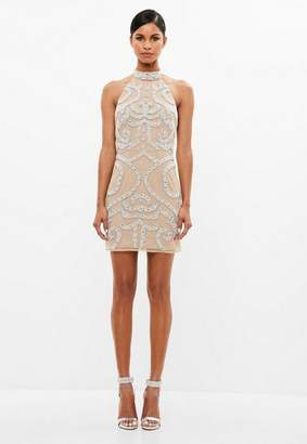 Missguided Nude Embellished Mini Dress