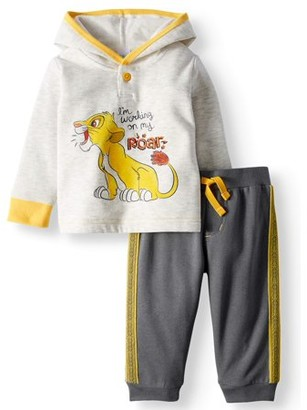 Lion King Long Pullover Hoodie Top & Jogger Pants, 2pc Outfit Set (Baby Boys)