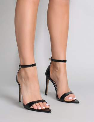 4f082aa0041 Public Desire Ace Pointed Barely There Heels Patent