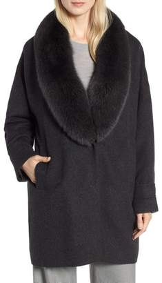 HiSO Genuine Blue Fox Fur Collar Long Coat