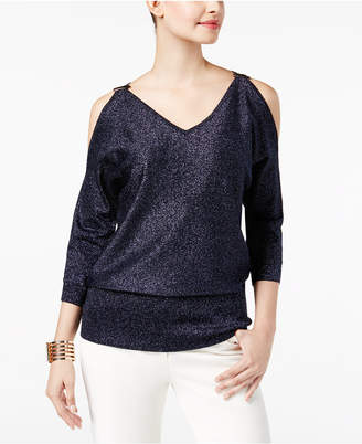 Thalia Sodi Metallic Dolman Cold-Shoulder Sweater