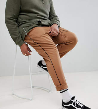 Asos Design DESIGN Plus slim cropped trousers in camel with black side piping