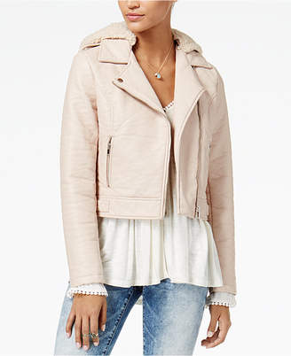 American Rag Juniors' Faux-Sherpa-Hood Faux-Leather Moto Jacket, Created for Macy's