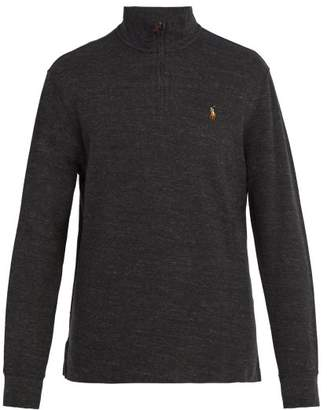 Polo Ralph Lauren Logo Embroidered Half Zip Cotton Jersey Sweater - Mens - Black Grey