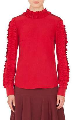 Akris Punto Ruched Mock-Neck Long-Sleeve Silk Blouse