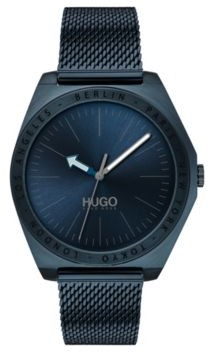 Matte-blue-plated watch with engraved city names
