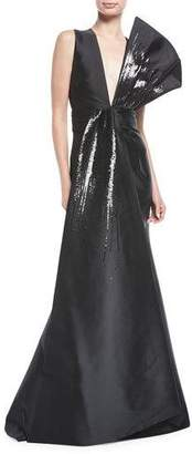 Sachin + Babi Blanche Sequin Flounced V-Neck Gown
