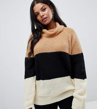 Brave Soul Plus Onda Sweater in Color Block Stripe