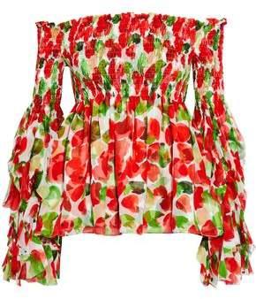 Caroline Constas Alessandra Off-The-Shoulder Shirred Printed Silk Top