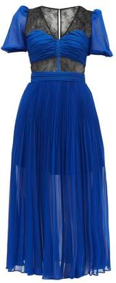 Self-Portrait Self Portrait Lace Panel Pleated Chiffon Dress - Womens - Blue