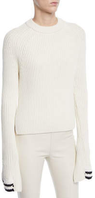 Helmut Lang Ribbed Knit Side Split Sweater w/ Crochet Cuffs