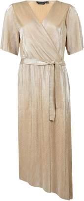 Dorothy Perkins Womens Gold Plisse Asymmetrical Kimono Wrap Midi Dress