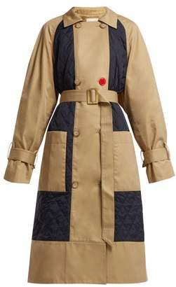 Tibi Finn Quilted Panel Cotton Trench Coat - Womens - Khaki