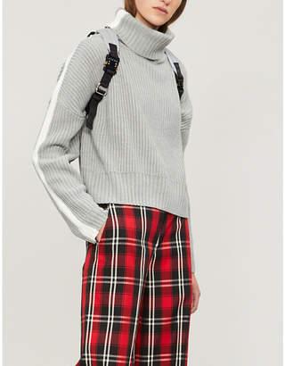Izzue Side-stripe ribbed-knit turtleneck jumper
