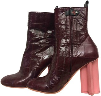 Louis Vuitton Silhouette Burgundy Leather Ankle boots