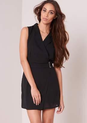 4f66f5d77a at Missy Empire · Missy Empire Missyempire Lexi Black Blazer Style Buckle  Detail Sleeveless Playsuit