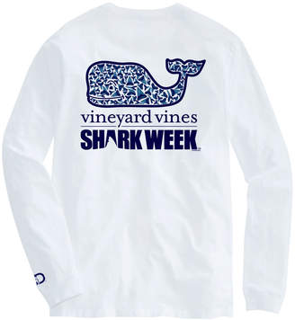 Vineyard Vines Mens Shark Week Long-Sleeve Shark Tooth Whale Fill T-Shirt