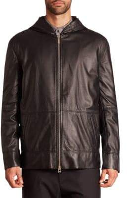 Public School Men's Kaiza Lamb Leather Hoodie - Black - Size Small