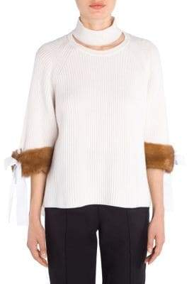 Fendi Cashmere Mink-Cuff Knit Sweater