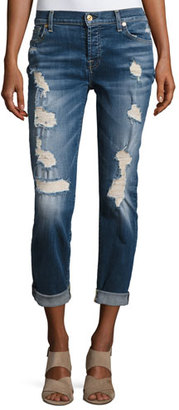 7 For All Mankind Josefina Relaxed-Fit Distressed Jeans, Blue $198 thestylecure.com