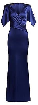 Talbot Runhof Women's Tulip-Sleeve Satin Gown