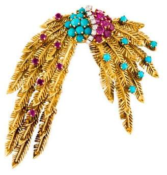 18K Diamond, Turquoise & Ruby Feather Brooch yellow 18K Diamond, Turquoise & Ruby Feather Brooch