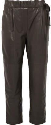 Brunello Cucinelli Leather Pants - Gray