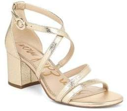 Sam Edelman Stacie Metallic Leather Block Heel Sandals
