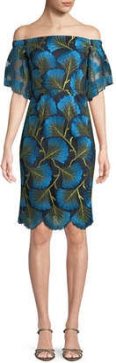 Trina Turk Naomi Off-the-Shoulder Dress w/ Fan Foliage