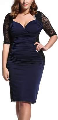TOP SELLER Women's Vintage Plus Size Deep V-Neck Cocktail Evening Dress Navy/Black