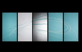 Decor Abstract Art 5 Piece Abstract Canvas Painting in Turquoise