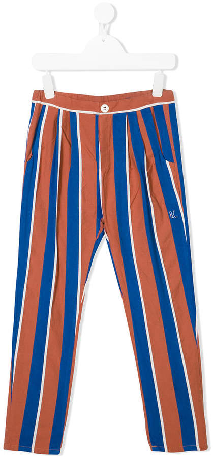 pleated detail striped trousers