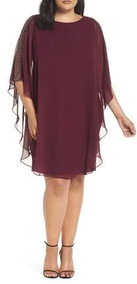 Xscape Evenings Chiffon Overlay Beaded Sleeve Cocktail Dress