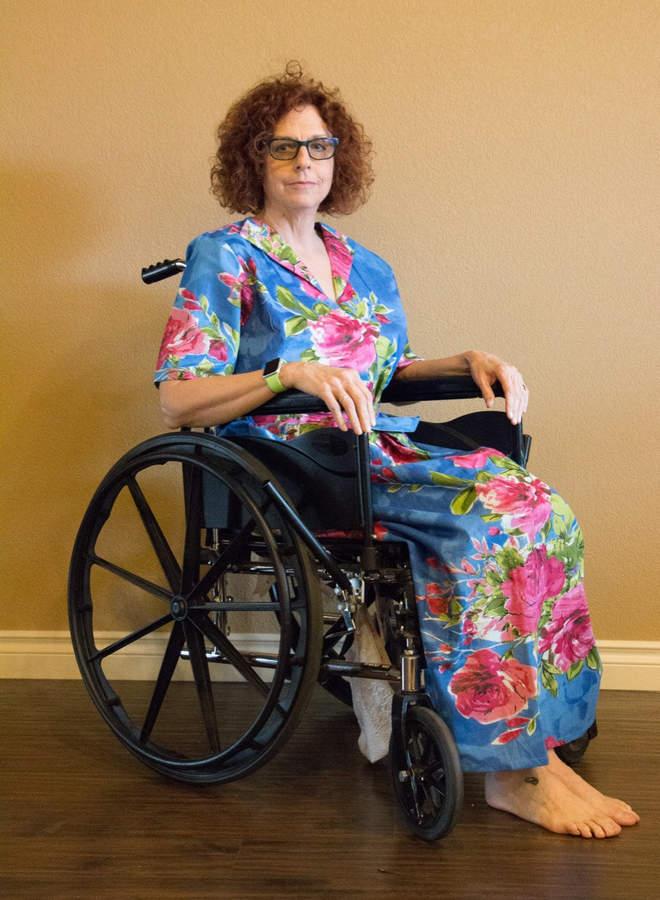 Etsy Indigo Blue Wheelchair friendly Zip-Front Collared Housecoat for Elderly People - Larg Fuchsia Flora