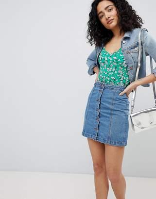 New Look A Line Button Denim Skirt