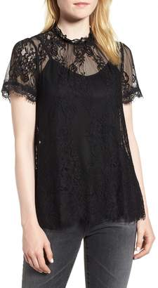 Chelsea28 Lace Ruffle Collar Blouse