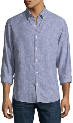 Michael Kors Tate Slim-Fit Striped Sport Shirt