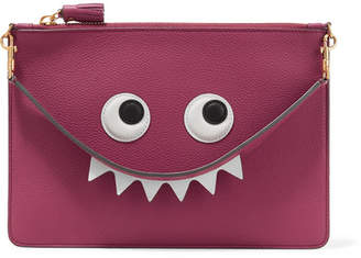 Anya Hindmarch Eyes Appliquéd Textured-leather Pouch - Plum