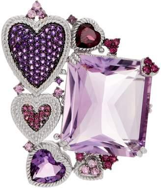 Judith Ripka Sterling Silver 41.45 cttw Gemstone Heart Pin/Enhancer