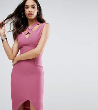 Vesper Strap Detail Pencil Dress With Thigh Split