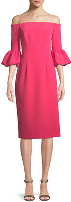 Milly Gia Italian Cady Off-the-Shoulder Dress